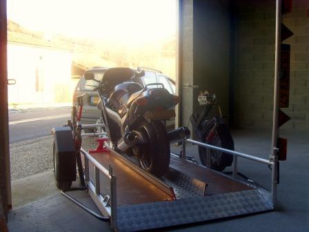 Remorque moto abaissable